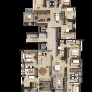 Palnta: 3 dormitórios, 10 banh. social